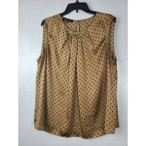 Jones New York Tan Pleated Polka Dot Top  Size 18W